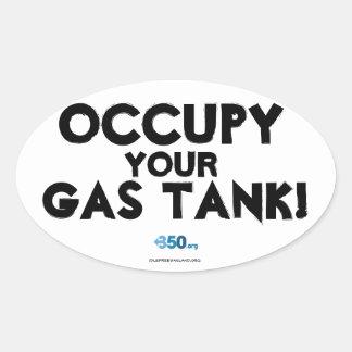 Occupez votre réservoir de gaz ! autocollant ovale