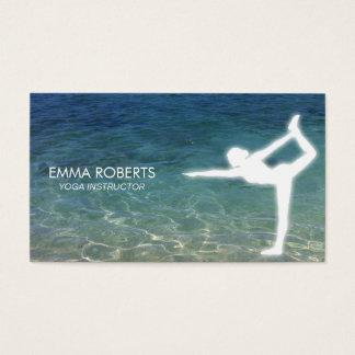 Océan bleu élégant d'instructeur de yoga cartes de visite