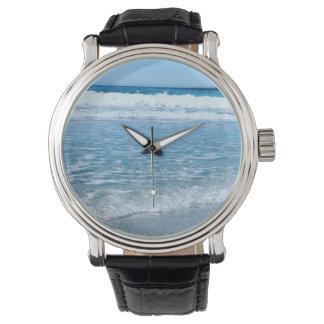 Océan en cuir vintage noir de montre