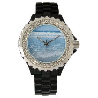 Océan fait sur commande de montre d'émail de noir