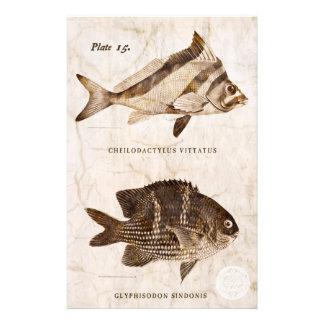 Océan marin de vie marine d'antiquité vintage de papier à lettre personnalisable