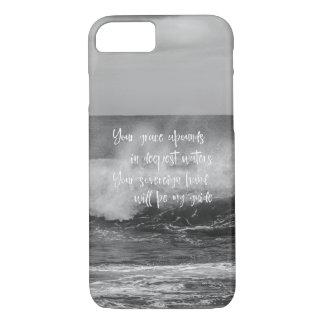 Océan noir et blanc avec la citation chrétienne coque iPhone 7