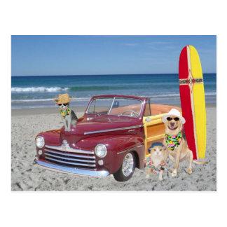 Océan/plage/surfer/Woodie Carte Postale