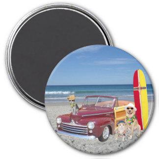 Océan/plage/surfer/Woodie Magnet Rond 7,50 Cm