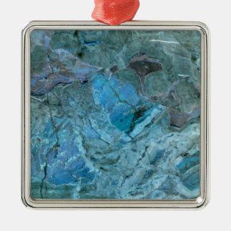 Océanie Teal et marbre bleu Ornement Carré Argenté