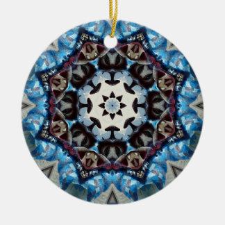 Octogone K186 bleu de fantaisie Ornement Rond En Céramique