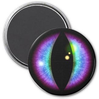 Oeil bleu et pourpre de dragons magnet rond 7,50 cm