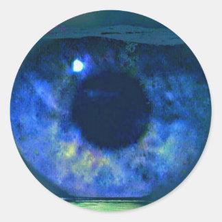 Oeil bleu autocollants stickers oeil bleu for Bocal rond poisson