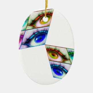 oeil couleur ornement ovale en céramique