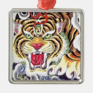 Oeil de tigre ornement carré argenté