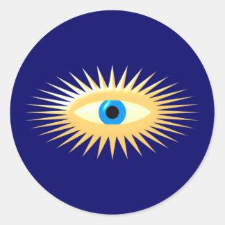 Oeil étoile rayons STAR eye rays Sticker Rond