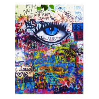 Oeil mauvais de graffiti bleu carte postale