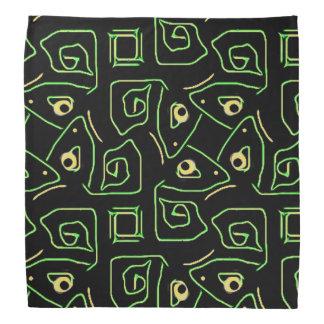 Oeil vert et jaune frais de motif tribal de lézard bandana
