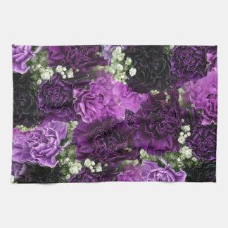 Oeillets de pourpre de bouquet serviettes éponge