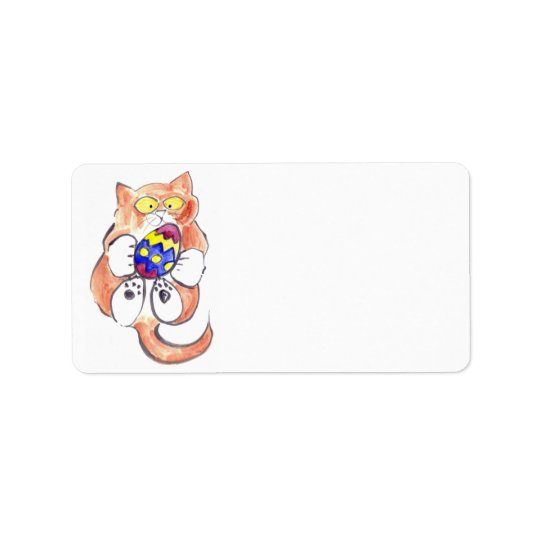 Oeuf de pâques capturé par le chaton étiquette d'adresse
