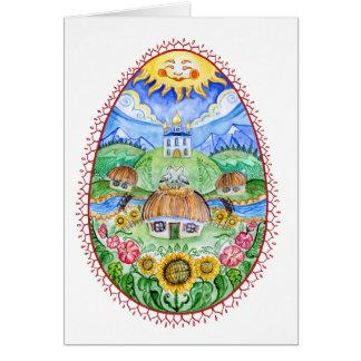 Oeuf de pâques d'Ukrainien de Pysanka Carte De Vœux