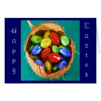Oeufs de pâques dans le panier carte de vœux