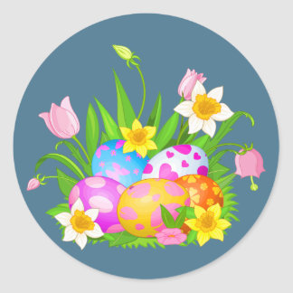 Oeufs de pâques et floral heureux sticker rond