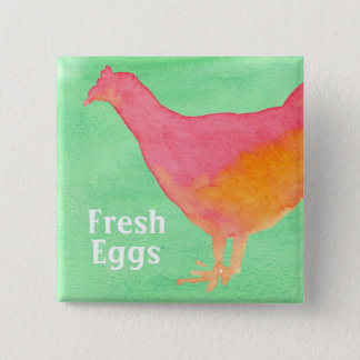 Oeufs frais roses de ferme de poulet badge