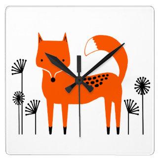 """""""Oeuvre d'art originale"""" Fred le Fox Horloge Carrée"""