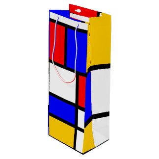Offrez l'art moderne style Mondrian Sac Cadeau Pour Bouteille