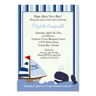 Oh baby shower 5x7 de baleine de rayure bleue de carton d'invitation  12,7 cm x 17,78 cm