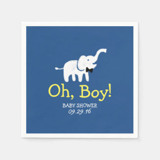 Oh baby shower de bleu marine d'éléphant serviette jetable
