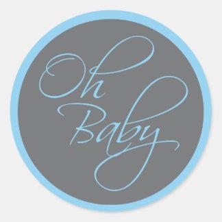 Oh baby shower snob de bébé pour le garçon sticker rond