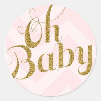 Oh bébé - autocollant de faveur de Chevron de rose