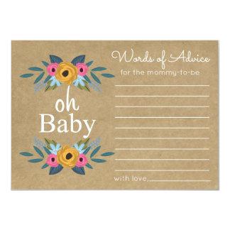 Oh bébé ! Baby shower floral rustique de guirlande Carton D'invitation 11,43 Cm X 15,87 Cm