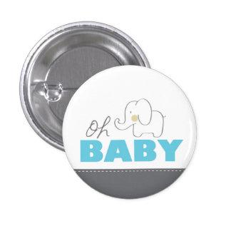 Oh bouton bleu et gris d'éléphant de bébé - de badges