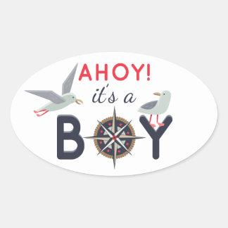Oh ! C'est une partie nautique de bateau de baby Sticker Ovale
