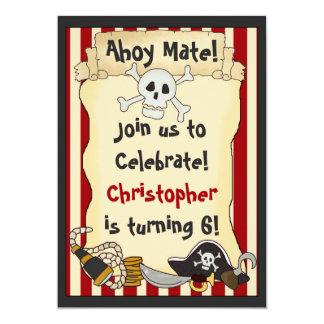 Oh compagnon ! Invitation d'anniversaire de pirate Carton D'invitation 12,7 Cm X 17,78 Cm