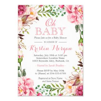 Oh fleurs roses chics élégantes Girly de baby Carton D'invitation 12,7 Cm X 17,78 Cm