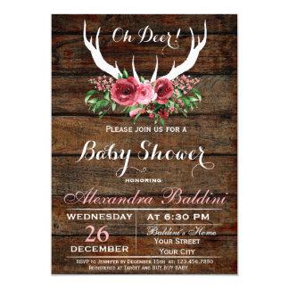 Oh invitation de baby shower de cerfs communs