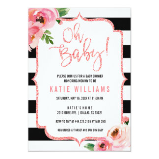 Oh invitation rayée rose florale de baby shower