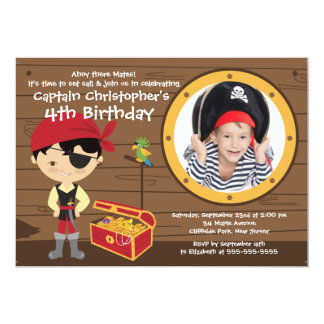 Oh invitations de fête d'anniversaire de pirate de