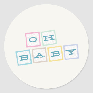 Oh le bébé bloque l'autocollant - Teal Sticker Rond