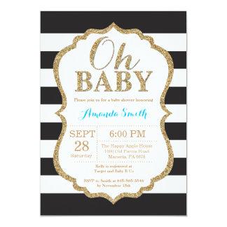 Oh noir de bébé et invitation de baby shower d'or