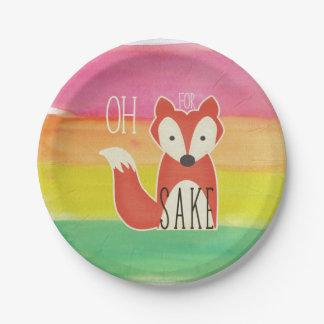 Oh pour des rayures d'aquarelle de saké de Fox Assiettes En Papier