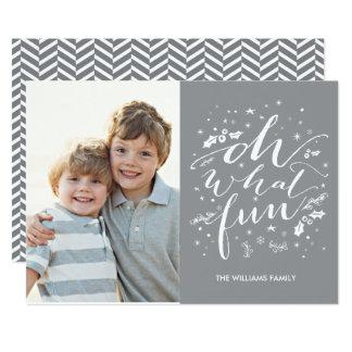 Oh quel gris de carte photo de vacances de carton d'invitation  12,7 cm x 17,78 cm