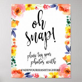 Oh signe floral instantané de mariage de Hashtag Poster