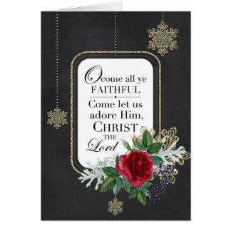 Oh viennent toute la carte fidèle de chant de Noël