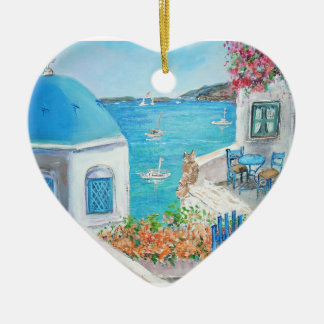 Oia, ornement de coeur de Santorini