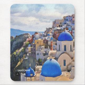 Oia, Santorini. Peinture de Greece.Oil. Cadeau Tapis De Souris