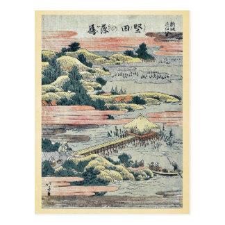 Oies descendantes chez Katada par Katsushika, Carte Postale