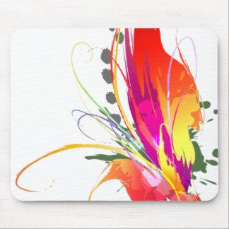 Oiseau abstrait des éclaboussures de peinture de p tapis de souris