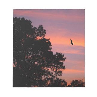 oiseau au coucher du soleil blocs notes