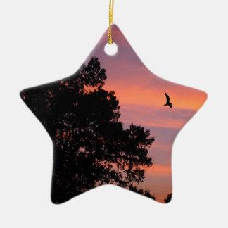 oiseau au coucher du soleil ornement étoile en céramique
