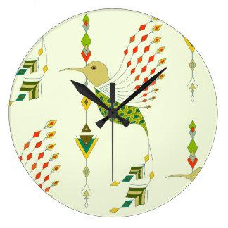 Oiseau aztèque tribal ethnique vintage grande horloge ronde